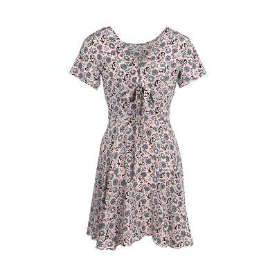 v neck floral pattern dress